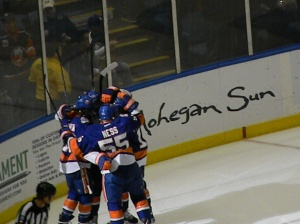 Islanders celebrating. Photo by: Stacy Podelski