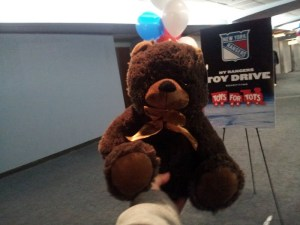 Photo from our experience from donating to the Rangers Toys for Tots Drive. By: Stacy Podelski