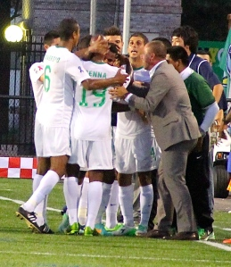The New York Cosmos  celebrating Photo by: Stacy Podelski