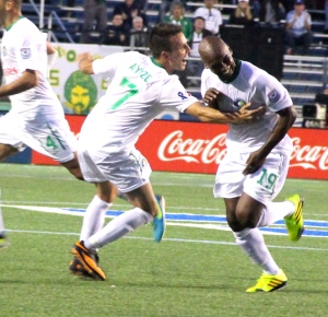 Marcos Senna celebrates the game-winner for the Cosmos' By: Stacy Podelski/1495 Sports