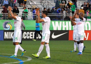 The Cosmos applaud the fans at the last home match of the year. Photo by: Stacy Podelski