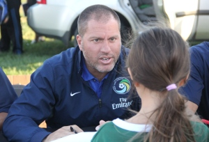 Giovanni Savarese interacts with a young Cosmos Fan. Photo by: Stacy Podelski