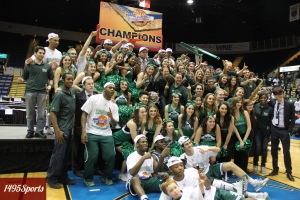 The Manhattan College Men's Basketball Team Celebrates with Jasper Nation after winning the 2014 MAAC Championships. Photo by: Stacy Podelski/1495 Sports