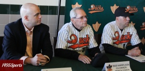 Long Island Ducks President and General Manager Michael Pfaff, Bench Coach Bud Harrelson  and Manager Kevin Baez. Photo by: Stacy Podelski/1495 Sports