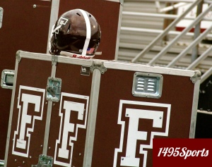 Helmet and Equipment for the Fordham University Football team. Photo by: Stacy Podelski/1495 Sports