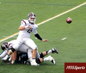 Fordham QB Michael Nebrich and the offense were kept off balance by the Villanova Defense. Photo by: Stacy Podelski/1495 Sports