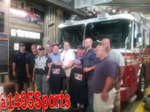 David Wright and Dillon Gee visiting Squad 288/HazMat 1 on 9/10/14. Photo by: Stacy Podelski/1495 Sports
