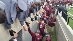 Great show of respect between the Army Cadets and the Fordham Football team. Photo by: Stacy Podelski/ 1495 Sports