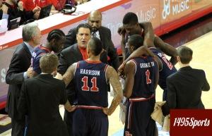 Steve Lavin seen in a team huddle. Photo by: Stacy Podelski/1495 Sports