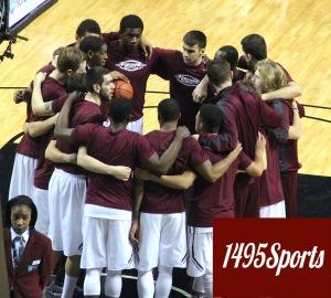 Fordham men's Basketball Huddle. Photo by: Stacy Podelski/1495 Sports