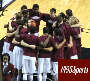 Fordham men's Basketball Huddle. Photo by: Stacy Podelski/1495 Sports