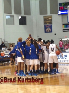 Hofstra WBB Huddle. Photo by: Brad Kurtzberg/1495 Sports