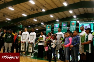 The Manhattan College Men's Basketball Seniors being honored on 3/1/15. Photo by: Stacy Podelski/1495 Sports