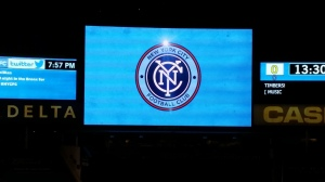The New York City Badge shown on the Yankee Stadium Video Board. Photo by: Stacy Podelski