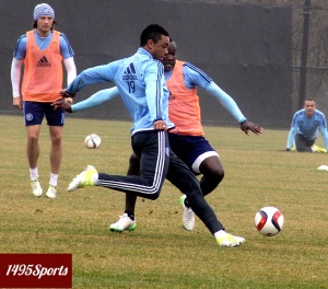 Khiry Shelton (wearing 19) getting a shot in during a NYCFC Training Session. Photo by: Stacy Podelski/1495 Sports