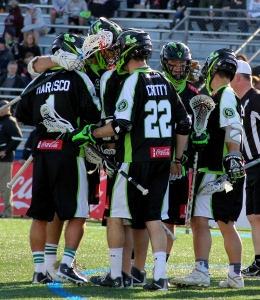 The New York Lizards Celebrating a goal on 4/12. Photo by: Stacy Podelski/1495 Sports