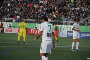 Raúl González Blanco during his home debut for the New York Cosmos on 4/18. Photo by: Stacy Podelski/1495 Sports