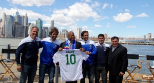 Cosmos head coach Giovanni Savarase, Cosmos B head coach Alecko Eskandarian, captain Carlos Mendes and striker Raúl along with Brooklyn Borough President Eric Adams and Brooklyn Italians Vice President Joe Barone. Photo by: Stacy Podelski