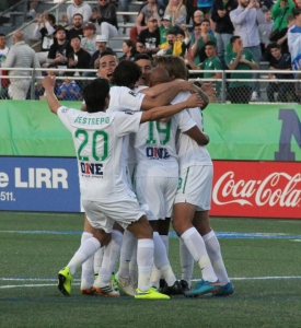 The New York Cosmos Celebrating. Photo by: Stacy Podelski/1495 Sports