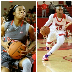 Aliyyah Handford and Danaejah Grant. Photo by: Stacy Podelski/1495 Sports