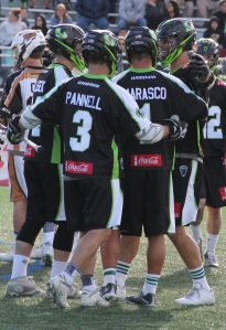 The New York Lizards celebrate a goal at Shuart Stadium. Photo by: Stacy Podelski/1495 Sports