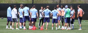 New York City FC huddle up during a training session. Photo by: Stacy Podelski/1495 Sports