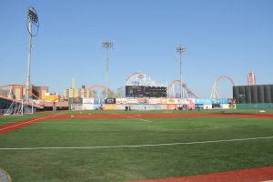 How things will be set for the New York Cosmos match at MCU Park in Brooklyn.
