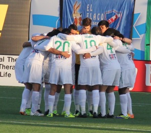The New York Cosmos Huddle Up prior to the match v Ottawa Fury FC at MCU Park. Photo by: Stacy Podelski/1495 Sports