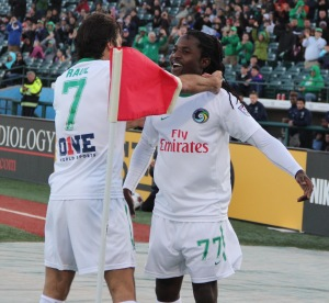 Lucky Mkosana celebrates scoring at the 14 minute mark for the New York Cosmos. Photo by: Stacy Podelski/1495 Sports