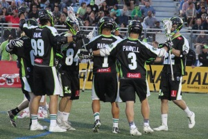 The New York Lizards Celebrating a goal during the 2015 Season. Photo by: Stacy Podelski/1495 Sports
