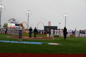 The National Anthem for the Brooklyn Cyclones 2015 Home Opener at MCU Park. Photo by: Stacy Podelski/1495 Sports