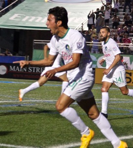 Wálter Restrepo celebrates his goal that helped the Cosmos tie up the match v Indy Eleven. Photo by: Stacy Podelski