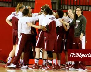 Fordham Women's Basketball Huddle. Photo by: Stacy Podelski/1495 Sports