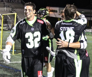 The New York Lizards Celebrate going to the 2015 MLL Championship. Photo by: Stacy Podelski/1495 Sports