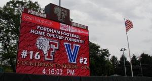 Fordham Scoreboard prior to the game v Villanova on 9/12. Photo by: Stacy Podelski/1495 Sports