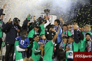 The New York Cosmos Celebrating with the NASL Championship. Photo by: Stacy Podelski/1495 Sports