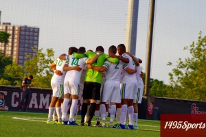 New York Cosmos Huddle. Photo by: Stacy Podelski/1495 Sports
