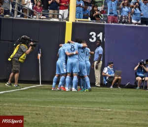 New York City FC Celebrating. Photo by: Stacy Podelski/1495 Sports