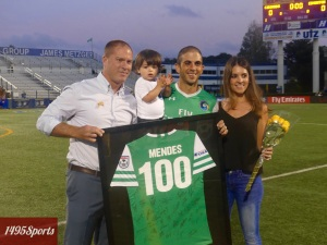 New York Cosmos Captain Carlos Mendes Honored for his 100th Appearance. Photo by: Stacy Podelski/1495 Sports