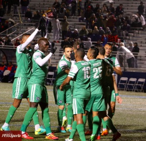 Cosmos Celebrating. Photo by: Stacy Podelski/1495 Sports