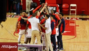 St. John's Men's Basketball huddle prior the game on 11/11/16. Photo by: Stacy Podelski/1495Sports