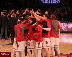 The Red Storm huddle. Photo by: Stacy Podelski/1495 Sports